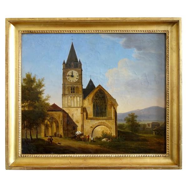 Alphonse Giroux : tableau horloge d'époque Restauration vers 1830, signé - 74,5cm x 63,5cm