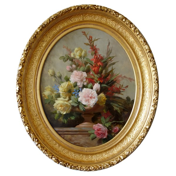 19th century French school : flowers in a vase circa 1880