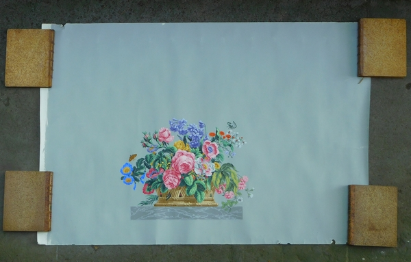 Zuber : série de 3 dessus de porte en papier peint de style Louis XVI