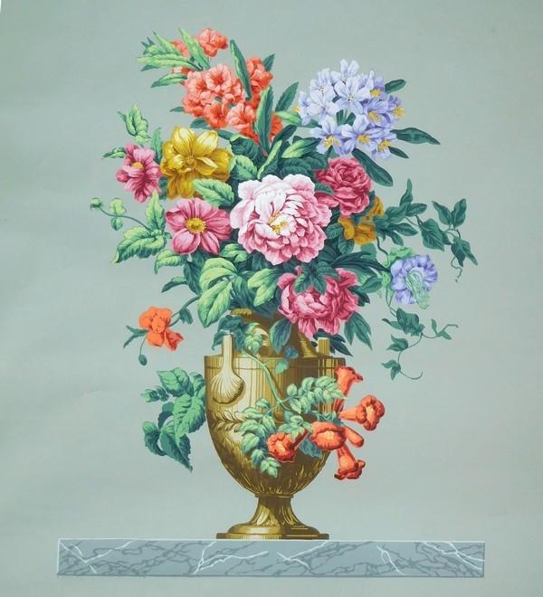 Zuber : série de 4 dessus de porte en papier peint de style Louis XVI identiques