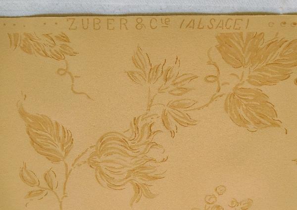 Zuber : lot de papier peint gouché beige, années 1900-1930