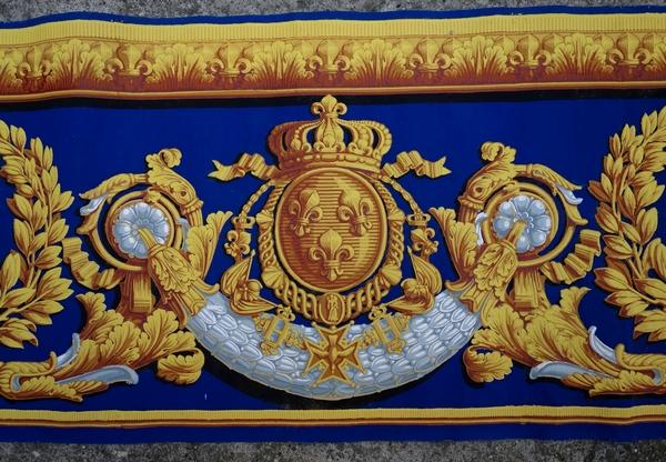 Papier peint royal aux armes de Charles Philippe de France, futur Charles X, époque Restauration