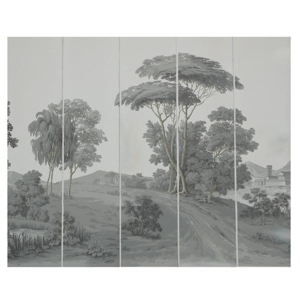 Papier peint panoramique Zuber jamais posé : paysage Italien grisaille 380cm x 240cm