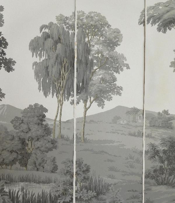 papier peint panoramique zuber jamais pos paysage italien grisaille 380cm x 240cm. Black Bedroom Furniture Sets. Home Design Ideas