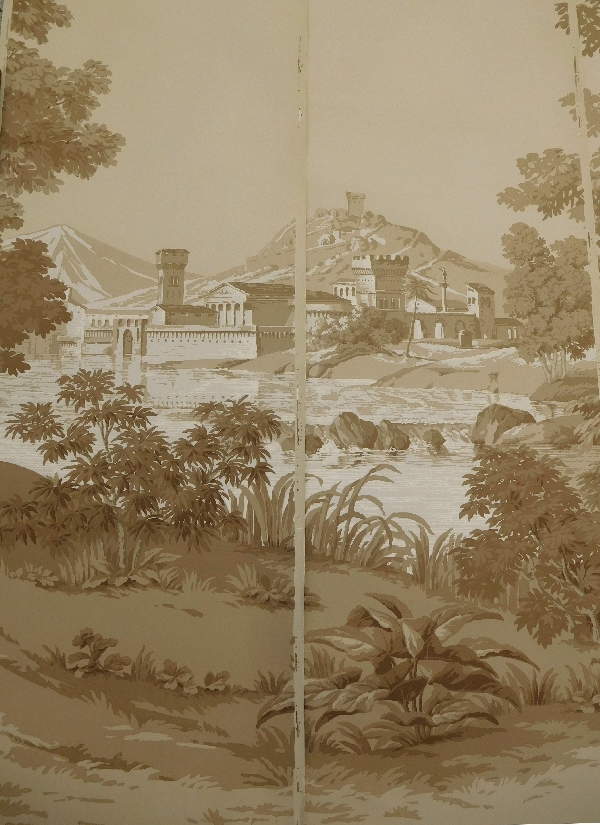 Papier peint panoramique Zuber jamais posé, Paysage Italien sépia 250cm x 400cm