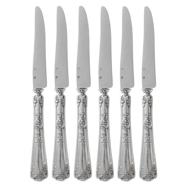 Puiforcat, 6 couteaux à fruits en argent massif, modèle Fer de Lance, poinçon Minerve