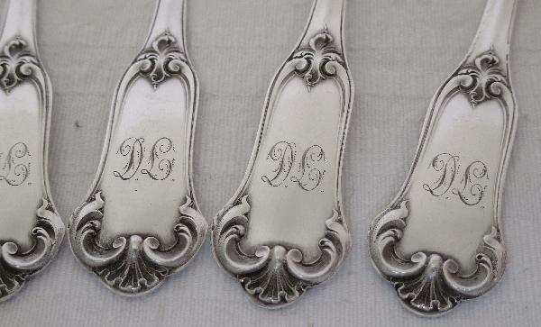 Puiforcat : 6 cuillère à café de style Louis XV en argent massif, poinçon Minerve