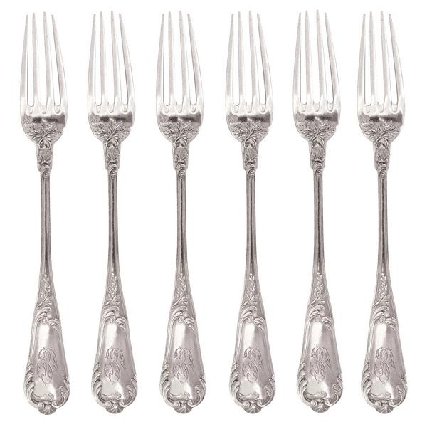 6 fourchettes à entremets de style Louis XV, poinçon Minerve, par Veuve Compère