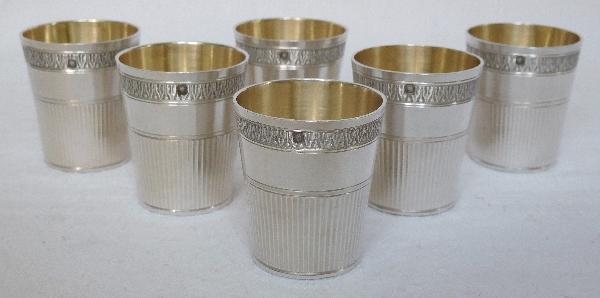 6 gobelets à liqueur de style Empire en argent massif, poinçon Minerve, par Louis Coignet