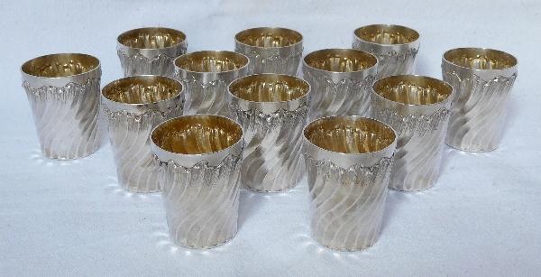 6 verres à liqueur Louis XV Rocaille en argent massif et vermeil, poinçon Minerve, par Armand Gross