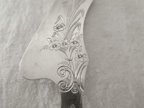 Couteau à beurre d'époque Napoléon III en argent massif, poinçon Minerve par Philippe Berthier