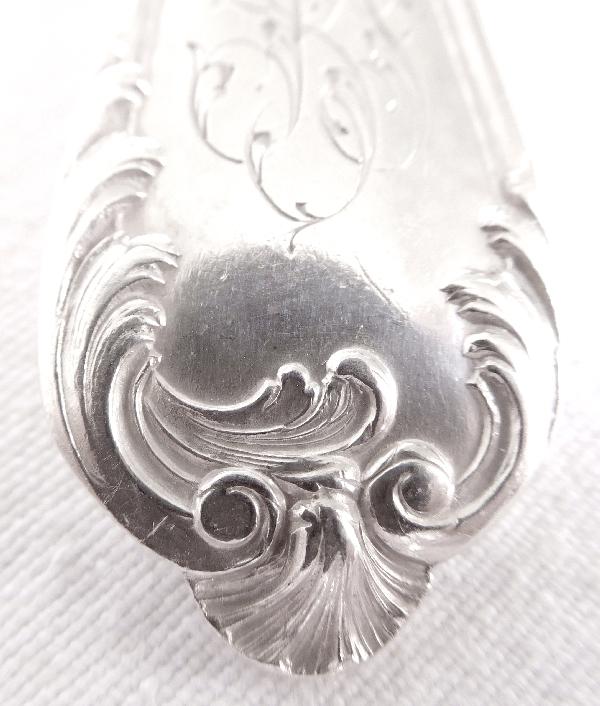 Couvert de style Louis XV en argent massif, poinçon Minerve, par Puiforcat et Veuve Compère