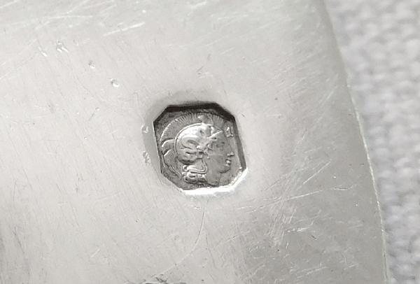 Puiforcat : couvert à glace en argent massif, modèle Fer de Lance style Gothique, poinçon Minerve