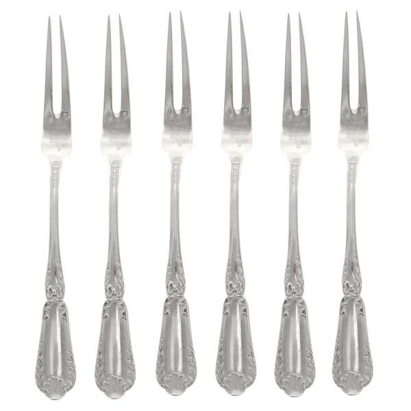 Puiforcat : série de 6 fourchettes à escargots de style Transition, modèle Pompadour en argent massif, poinçon Minerve