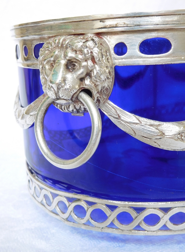 Grande jardinière Louis XVI en argent massif et cristal bleu cobalt - fin XVIIIe siècle / début XIXe siècle