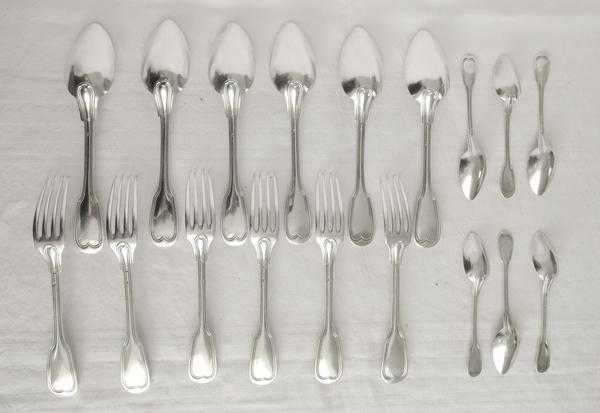Ménagère au filet en argent massif pour 6 personnes, poinçon Minerve, par Hénin Frères