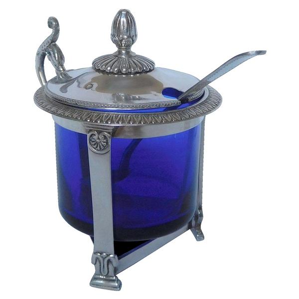 Moutardier en argent massif de style Empire, verrine bleu cobalt, époque Restauration
