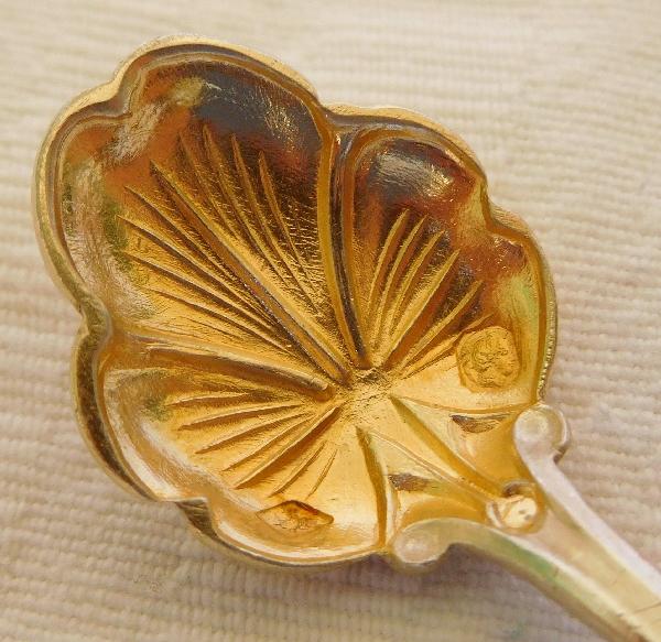 Paire de salières Art Nouveau en argent massif, vermeil, cristal par Alphonse Debain, poinçon Minerve