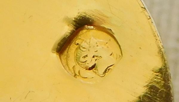 Cuillère à petits fours d'époque Napoléon III en vermeil, poinçon Minerve