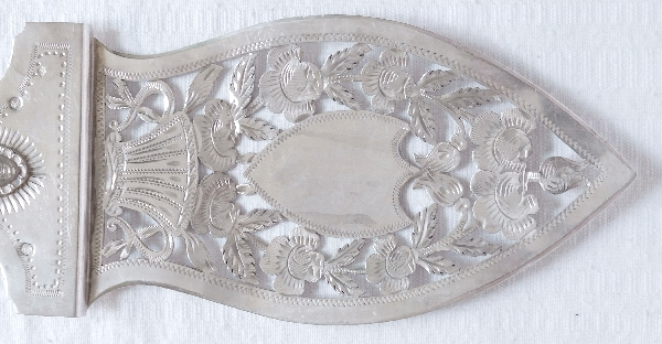 Pelle à tarte en argent massif ajouré d'époque Restauration en argent massif, poinçon Vieillard