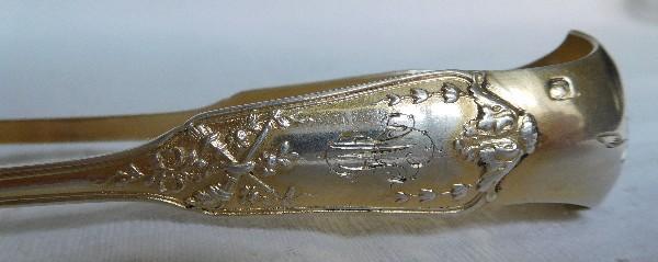 Pince à sucre en vermeil (argent massif) de style Louis XVI, poinçon Minerve