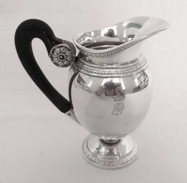 Puiforcat : pot à lait de style Empire en argent massif, couronne de Marquis, poinçon Minerve