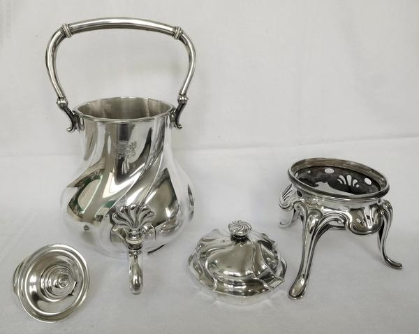 Odiot : samovar en métal argenté, armoiries d'alliance - Marquis de Ramel & de Secondat de Montesquieu