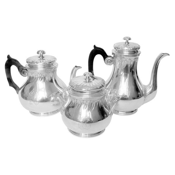 Service égoïste à thé et café de style Lousi XV en argent massif, par Hénin, poinçon Minerve