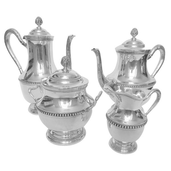 Service à thé et café de style Louis XVI en argent massif, poinçon Minerve, par Puiforcat