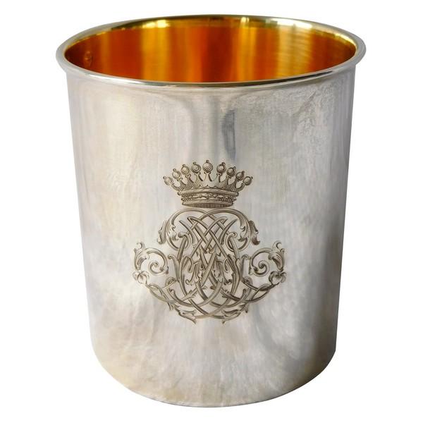 Timbale en argent massif et vermeil à couronne de Comte - poinçon Minerve