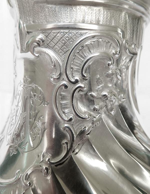 Verseuse / théière de style Louis XV Rocaille en argent massif et vermeil, poinçon Minerve, époque fin XIXe siècle