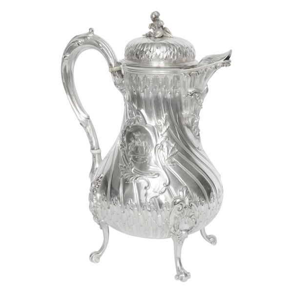 Verseuse cafetière en argent massif Rocaille du Marquis Philpin de Piepape, poinçon Minerve, par Tetard