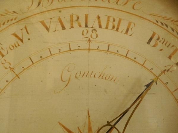 Baromètre en bois doré aux armes de France, époque Empire / Restauration