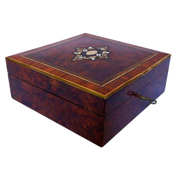 Coffret / boîte à bijoux en marqueterie, époque Napoléon III