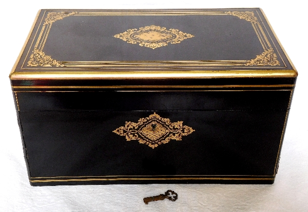 Tahan fournisseur de l'Empereur, coffret / boîte à bijoux en bois, marqueterie Boulle