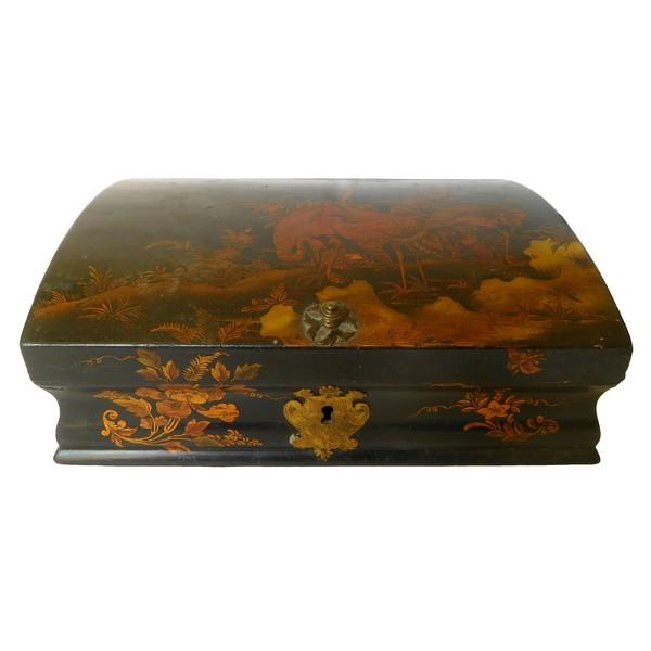 Boîte à perruque d'époque Louis XV en vernis Martin - décor de chinoiseries