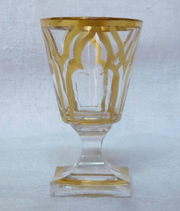 Cave à liqueur Napoléon III en marqueterie Boulle, 4 carafes & 16 verres en cristal doré orientaliste