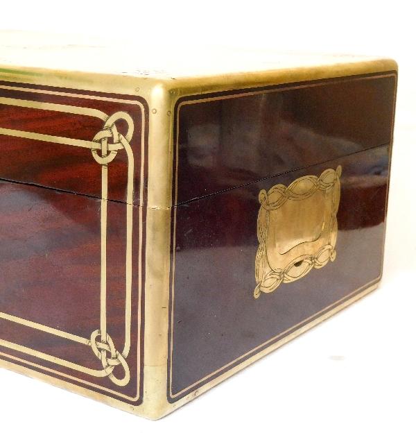 Aucoc : coffret / cassette à bijoux en acajou, couronne de comte