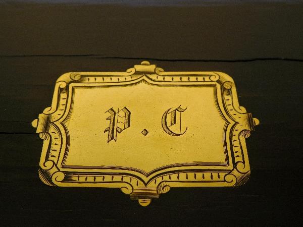 Coffret à bijoux en plaquage d'ébène et de laiton, Maison Jensen à Paris