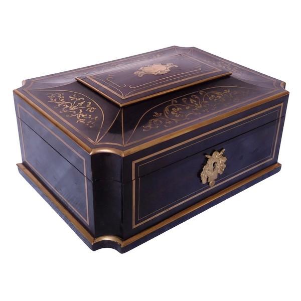 Grand coffret / boîte à bijoux d'époque Napoléon III en marqueterie Boulle