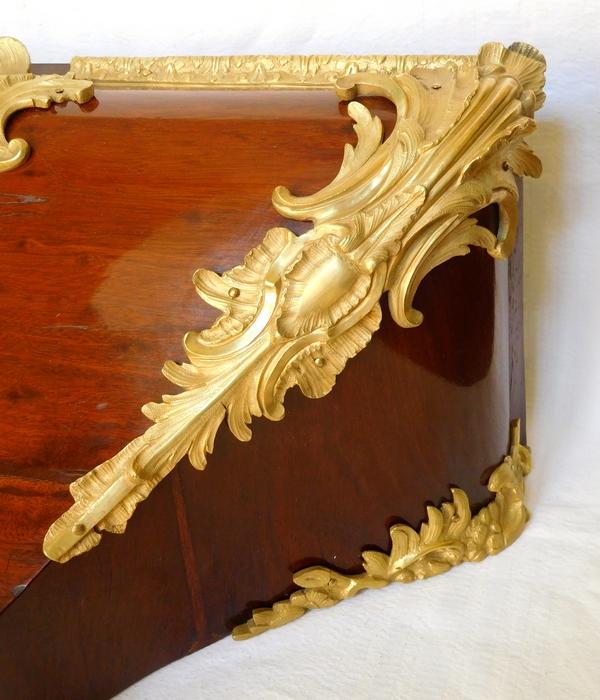 Nicolas Jean Marchand : console de cartel d'époque Louis XV acajou & bronze doré - Estampillée
