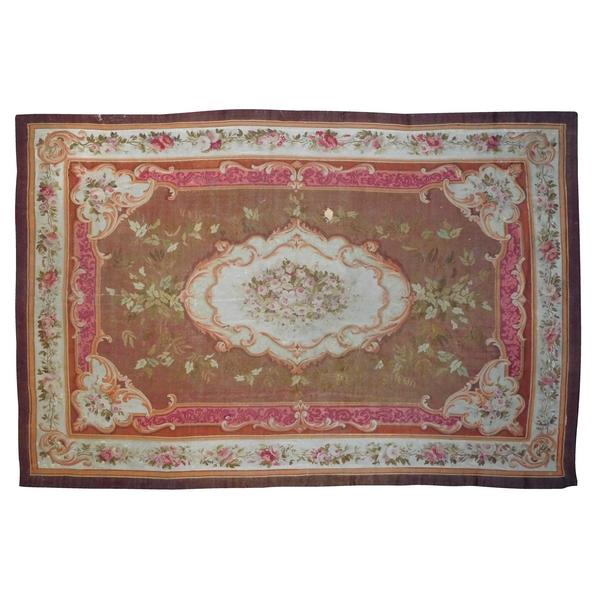 Grand tapis d'Aubusson de style Louis XV, époque XIXe Napoléon III - 447cm X 302cm