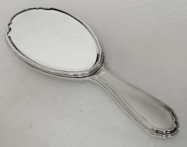 Tetard Frères : miroir face à main monture en argent massif, poinçon Minerve