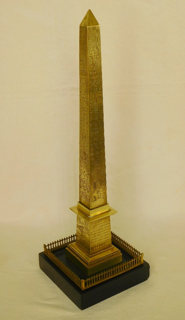 Obélisque de Louxor à La Concorde - réduction en bronze et marbre d'époque milieu XIXe siècle