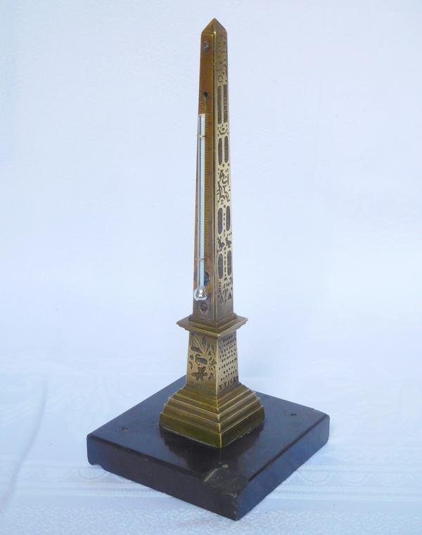 Obélisque de Louxor à La Concorde, réduction thermomètre - bronze & marbre d'époque XIXe siècle