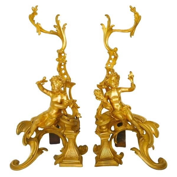 Paire de chenets en bronze doré aux putti, style Louis XV, milieu XIXe siècle