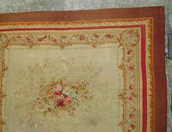 Grand tapis d'Aubusson de style Louis XVI, époque XIXe Napoléon III - 415cm x 344cm