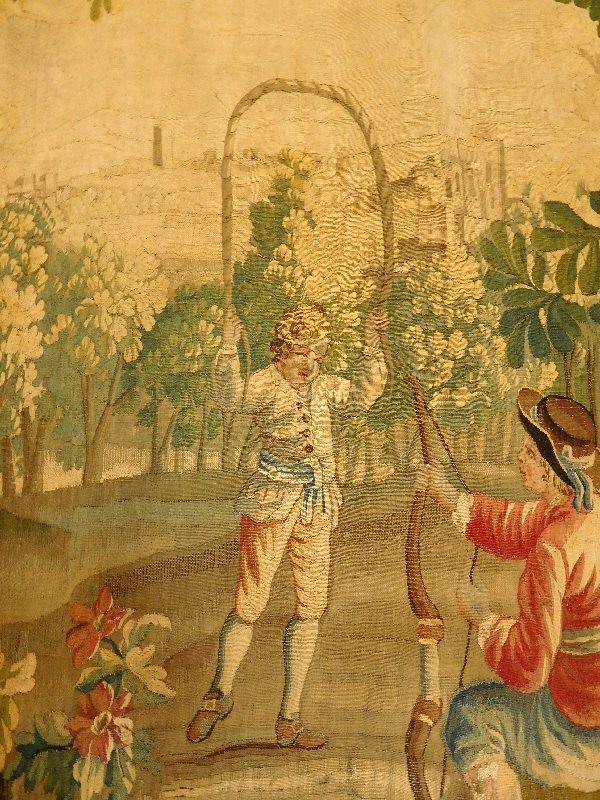 Tapisserie d'Aubusson polychrome, laine et soie, jeux dans le parc, époque Louis XVI 160cm x 200cm