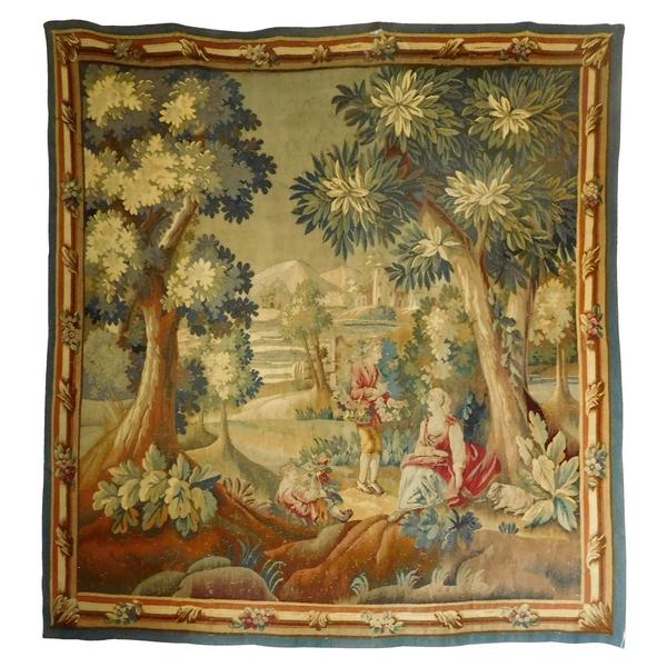 Tapisserie d'Aubusson polychrome, laine et soie, scène galante, époque Louis XVI - 190cm x 208cm