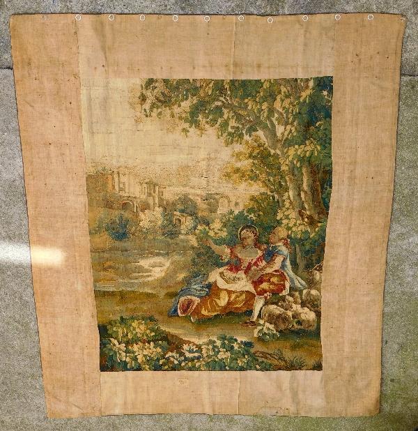 Tapisserie d'Aubusson polychrome, laine et soie, scène galante milieu XVIIIe siècle 188cm x 237cm